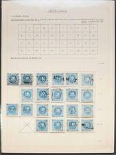 Perú. ºYv 3. 1858. Reconstrucción del bloque reporte del valor de 1 d azul, con