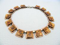 VTG MATISSE Renoir Copper Orange Speckled Enamel Choker Necklace