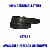 Men's Leather Belt - 3 Styles - Genuine Leather -Natural Grain -Black/Brown-NEW!