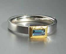 Einzelstück * Ring * 925 Silber * 24 ct Gold * Aquamarin *