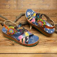 SOCOFY Women Bohemia Pattern Genuine Leather Shoes Hook Loop Wedge Heel  *