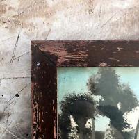 Antique Mahogany Frame Photo Rectangular Wood Farmhouse Cottage Cherry Decor