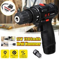 12V Electric Cordless Drill Chuck 2 Speed Screwdriver Hammer LED Light 1500mAh