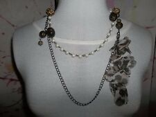 """""""JEWELRY, NECKLACE""""  2 Strands, Pearl-Look a Like Plastic Beads, Fabric Flowers"""
