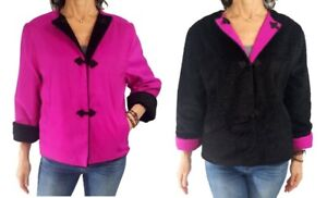 MYCRA PAC S/M hot pink black faux astrakhan reversible Asian inspired jacket
