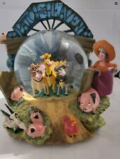 Home On The Range Disney Patch of Heaven Cows Snow Globe Music Reteried Rare