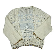 Soft Surroundings Crochet Beaded Fringe Cardigan Large L