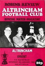 Football Programme>ALTRINCHAM v ORIENT Jan 1980 FAC