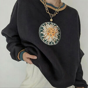 Sun Print Oversized Pullover Vintage Hippie Retro Black Loose Sweatshirt Sweater