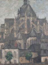 Basilique Notre Dame des Miracles de Mayenne. Huile sur panneau signee