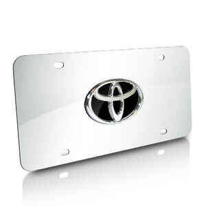 Toyota Black Infill Logo Chrome Steel License Plate