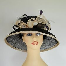 Ladies Formal Wedding Hat Races Mother Bride Black & Cream by Elegance