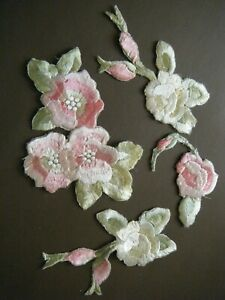 19c Old Silk Flower Salvage Textile for crafts projects &Sewing Doll Clothes