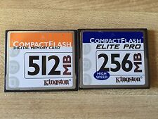 Set of 2 Kingston Compact Flash Memory Cards 512MB 256MB Tested and Working