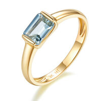 Solid 9K Yellow Gold 5/6ct Natural Aquamarine Ring for Women's Wedding Size 7 8