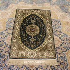 Yilong 2'x3' Blue Hand Knotted Good Carpet Medallion Handmade Silk Area Rug 124A