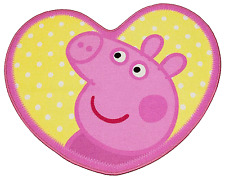 PEPPA PIG OINK HEART SHAPED RUG MAT CARPET GIRL KIDS CHILDRENS CHARACTER BEDROOM