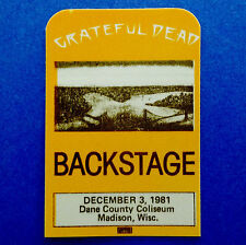 Grateful Dead Backstage Pass Madison Wisconsin WI Dane County Coliseum 12/3/1981