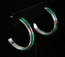 Tommy Jackson Malachite and Coral Inlay Half-Hoop Earrings