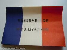 Etiquette papier RESERVE DE MOBILISATION France WWII authentique
