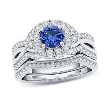 2-1/5 CT. T.W. Blue Sapphire Twist Shank Frame Bridal Set in 14K White Gold Over