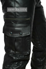 Mens Leather Cargo Quilted Pants Real Leather  Pants Trousers Jeans