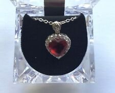 Necklace & Pendant-- red crystal  Heart -silver tone- small clear crystals