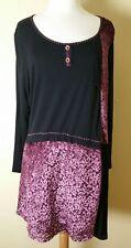 JOE BROWNS Dress Size 20 US/24 UK Black/Purple Patchwork Scoop Neck