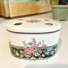 New listing Vintage Croscill Floral Toothbrush Holder Green & Pink