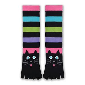 K.Bell Bright Stripe Toe Sock Ladies Socks Cat Face Design Acrylic Blend New