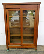 FINE ARTS & CRAFTS WALNUT 2 DOOR SLIDING DOOR BOOKCASE W BRONZE? FEET, ELEGANT