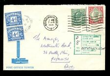 POSTAGE DUE GB QV + KE7 on 1969 POST OFFICE TOWER ENVELOPE..OUT of DATE STAMP 8d