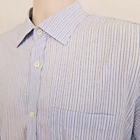 Banana Republic Button Down Shirt Men's Size XL Blue White Striped Long Sleeve