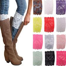 Stylish Women Stretch Lace Boot Cuffs Flower Leg Warmers Lace Trim Toppers Socks