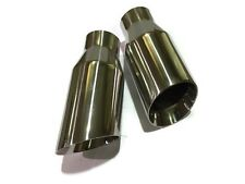"Set 2 Stainless Steel Exhaust Tips Angle Cut 2.5"" In 3.5"" Out Dual layer"