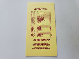 JS15 Eureka College 1988/89 Men's Basketball Pocket Schedule Card