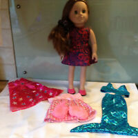 """STUNNING 18""""  SINDY DOLL MERMAID (STYLE OF DESIGN A FRIEND) extra outfits"""