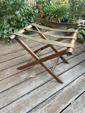 More details for large folding antique luggage stand with leather straps