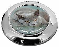 Gato Azul Británico 'Matutino Maravilloso' maquillaje Redondo Espejo Compacto