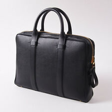 NWT $3080 TOM FORD Black Grained Leather Small 'Buckley Trapeze' Briefcase Bag