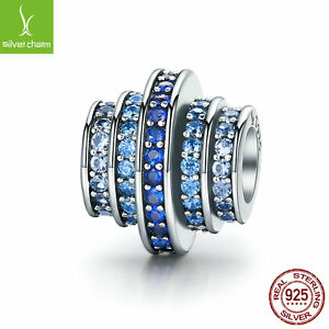 Charm With 925 sterling silver bead Blue Crystals Pave Setting CZ Fit Bracelets