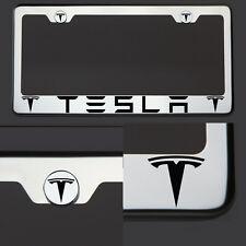 New Chrome T304 License Plate Frame Tag Tesla Black Letter Laser Etched Engraved