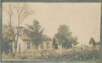 C-1910 Small Church Graveyard Cemetery RPPC Photo Postcard 20-5366