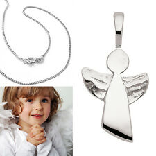 Kinder Frauen Schutz Engel offene Flügel Anhänger mit Kette Echt Silber 925 Neu