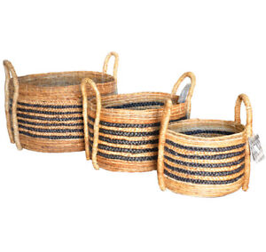 Chunky Round Banana Leaf Baskets Brown Natural Storage Logs Toys Laundry 3 sizes