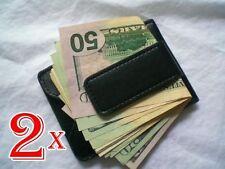 2X New Black Magnetic Leather Wallet Case Card holder Money Clip