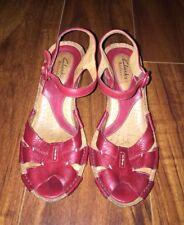 "Clarks Artisan Women's Red Leather Slingback Wedge Heels 3"" Heels Size 6 M"