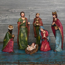 Krippenfiguren 6 teilig Set bunt bis 20 cm bunt Krippenset Krippe Figuren NEU