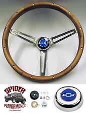 """1964-1966 Impala Bel Air steering wheel BLUE BOWTIE 15"""" MUSCLE CAR WALNUT"""