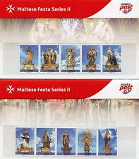 More details for malta 2018 mnh maltese festa series ii 10v pres pack x2 statues religion stamps